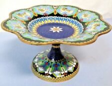 """Antique Chinese Cloisonne 5.25"""" Compote Pedestal Bowl in Blue w/ Dragons & Lions"""