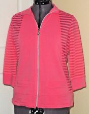 ONQUE CASUALS KNIT TOP SHIRT JACKET SIZE S STRETCH PINK NWT