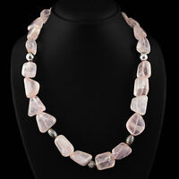 803.80 CTS NATURAL RICH PINK ROSE QUARTZ UNTREATED BEADS NECKLACE - ON SALE