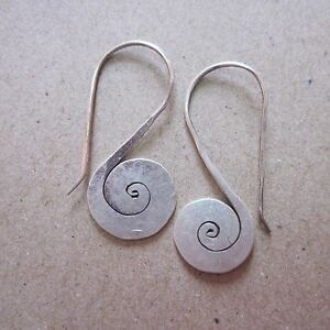 Fine Silver Earrings Karen Vintage Fashions Dangle Spiral Plain Flat CS181259422