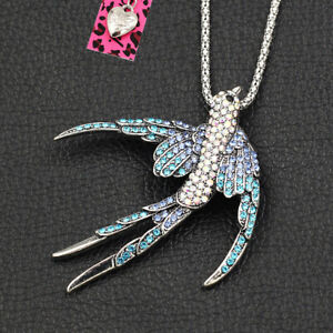 Blue Crystal Cute Swallow Bird Pendant Chain Betsey Johnson Necklace/Brooch Pin