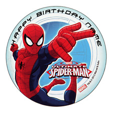 Spiderman Personalised Edible Birthday Party Cake Decoration Topper Image