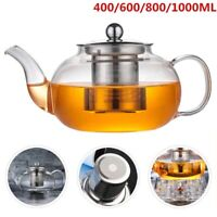 Tea Maker Pyrex Glass TEA POT Clear Glass Teapot with Stainless Infuser / Filter