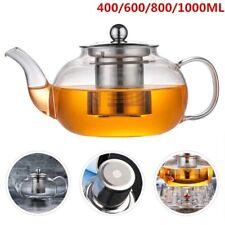 Tea Maker Pyrex Glass TEA POT Clear Glass Teapot with Stainless Infuser / Filter
