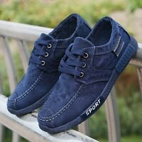 NEW Mens Flat Casual Comfortable Jean Canvas Shoes Fashion Lace Up Sneaker Boots