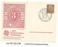 """Privatganzsache   PP122 C98  """"1. KdF-Postwertzeichenausstellung"""""""
