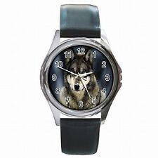 Silver Wolf Face Wild Animal Accessory Leather Watch New!