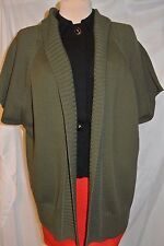 Michael Kors Bulky Knit Olive Poncho/Wrap/Open Front Cardigan Vest-XL