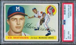 1955 Topps Ed Eddie Mathews #155 HOF PSA 8