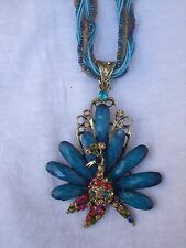 Set Teal Blue Rhinestone Peacock Beaded Necklace Earrings Fashion Statement NEW