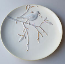 Pottery Barn blue bird on branch decorative plate embossed design 9 inches