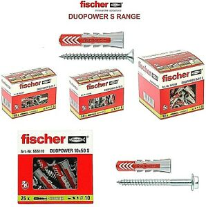 FISCHER DUOPOWER S Universal Wall Plugs with Screws - 5MMx25MM To 14MMx70MM