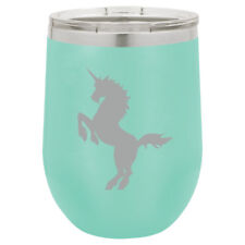 Stemless Wine Tumbler Coffee Travel Mug Glass Double Wall Insulated Unicorn