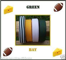 20 yards FOOTBALL GREEN BAY GROSGRAIN RIBBON LOT