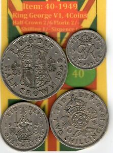 King George V1,4.Coins 1949,Half-Crown 2/6 to Sixpence (Item: 40 (VF)
