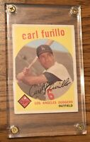 CARL FURILLO 1959 Topps  #206 Los Angeles Dodgers In Lucite Screw Down Grey Back