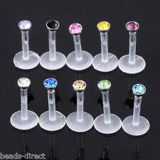 10pc 16G Mixed Acrylic CZ Crystal Bar Monroe Lip Ring Labret Stud Flesh Piercing