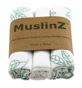 MuslinZ 3PK Luxury Baby Muslin Squares 70x70cm Bamboo/Organic Cotton Aqua Leaf