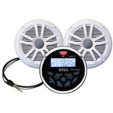 Boss Audio MCKGB350B.6 Combo - Marine Gauge Radio w/Antenna & Speakers - White