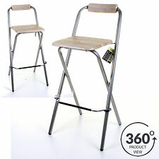 Folding Wooden Bar Stool Chair Breakfast Kitchen Seating Silver Frame Seat  Home 4