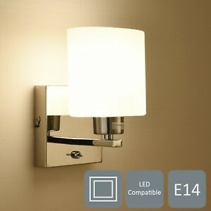 Single 1xE14 Wall Light, On/Off Switch, Polished Chrome, Cylinder Shade