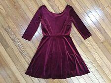 NWT Sola La Fe Burgundy 3/4 Sleeve Velvet Velour Dress Size S