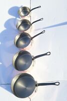 French Vintage Copper Saucepan Set of 5 Stamped Tournus Lined Heavy 2mm 15lbs