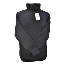 100% Merino Wool Submariner Sweater in Black - Royal Navy Roll Neck Style Jumper