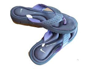 Nike Ladies Flip Flops Size 8M brown purple W/White Logo, Comfort Footed