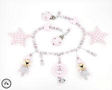 Kinderwagenkette mit Namen ★ Häkelteddy/Schmetterling in rosa/silber ★ Neu ★