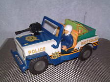 VINTAGE, TIN, BATTERY OPERATED POLICE RIOT SQUAD JEEP! FULLY WORKING!! SWEET!!