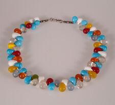 8863 Collier composé de perles anciennes en verre Bohême 1950 trade beads