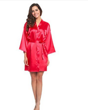 Plain Wedding Bridal Robe Satin Dressing Gown Lingerie Pyjama Sleepwear Silk