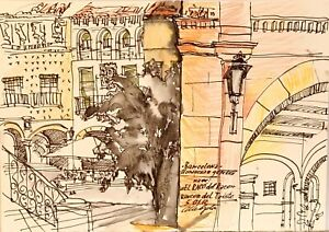 ORIGINAL watercolor painting paper artwork SIGNED by artist Barcelona, Spain