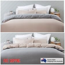 New King Bed Reversible Quilt Cover Set Doona Duvet Bedding Bedspread Beige Grey
