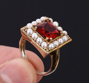 TURKISH RUBY .925 SILVER & BRONZE RING SIZE 9 #10502