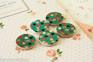 Printed Wood Buttons 5pc Green Polka Dots cute sewing craft DIY handmade notions