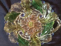 VINTAGE INDIANA GLASS DIVIDED RELISH DISH MULTI-COLORED LEAVES WILD ROSE