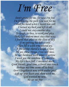 I'm Free Memorial Poem Birthday Mothers Day Funeral Christmas Gift Present