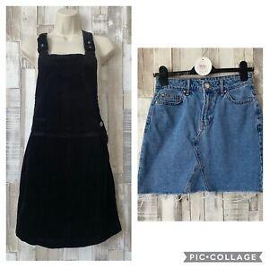 New Look Black Corduroy Dungaree Dress & Denim Skirt Bundle Size 8