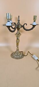 Stunning Vintage Brass 3 Arm Candle Stick Holder Converted To Table Lamp 14""