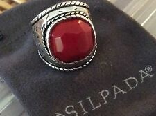 Silpada Ring R2890 SAMBA Sterling Silver and Faceted Coral Fits Size 6.5