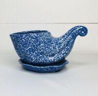 Vintage Ceramic Pottery Cornucopia Flower Planter Blue