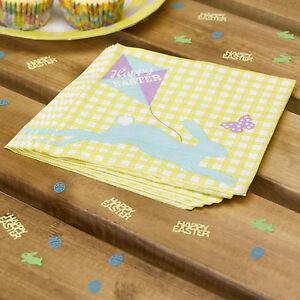 20 HAPPY EASTER Paper NAPKINS SERVIETTES Yellow Bunny Tea Party Celebration