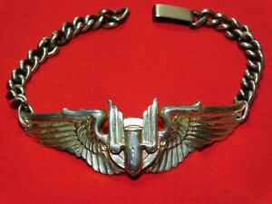 WWII US Army Sterling Air Corps Wing Bracelet Aerial Gunner Crew Bomber AAF A+