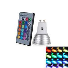 3W RGB 85V-265V GU10 LED Light Bulb Lamp 16 Color IR Remote Control Wholesale US