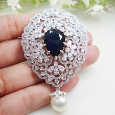 Bride Gorgeous Flower Cluster Pearl Pendant Brooch Pin Clear Rhinestone Crystal