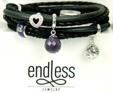 "ENDLESS Black 3 String Double Wrap Sterling Silver 4 Charm Bracelet ~7"""