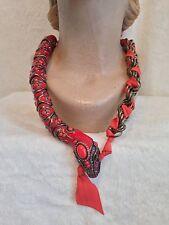 "LANVIN PARIS ORANGE RED SNAKE Enamel Bead Swarovski Crystal Necklace, 23"" $1,600"