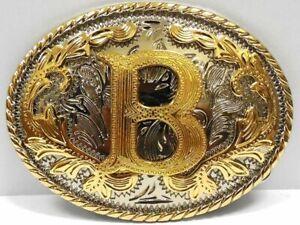 Iniziale Lettera B Cintura Fibbia Western Rodeo Cowboy Hebilla De Cinturón